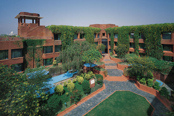 The verdant exterior of the ITC Mughal Hotel in Agra.