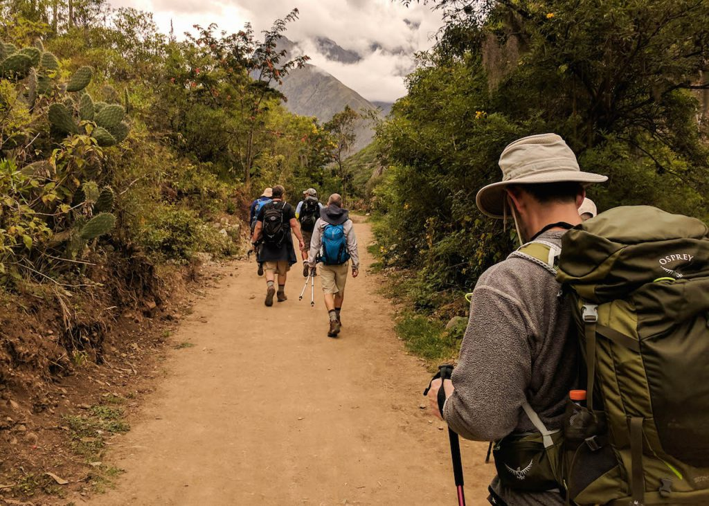 Four men on a gay hike along the Inca Trail.