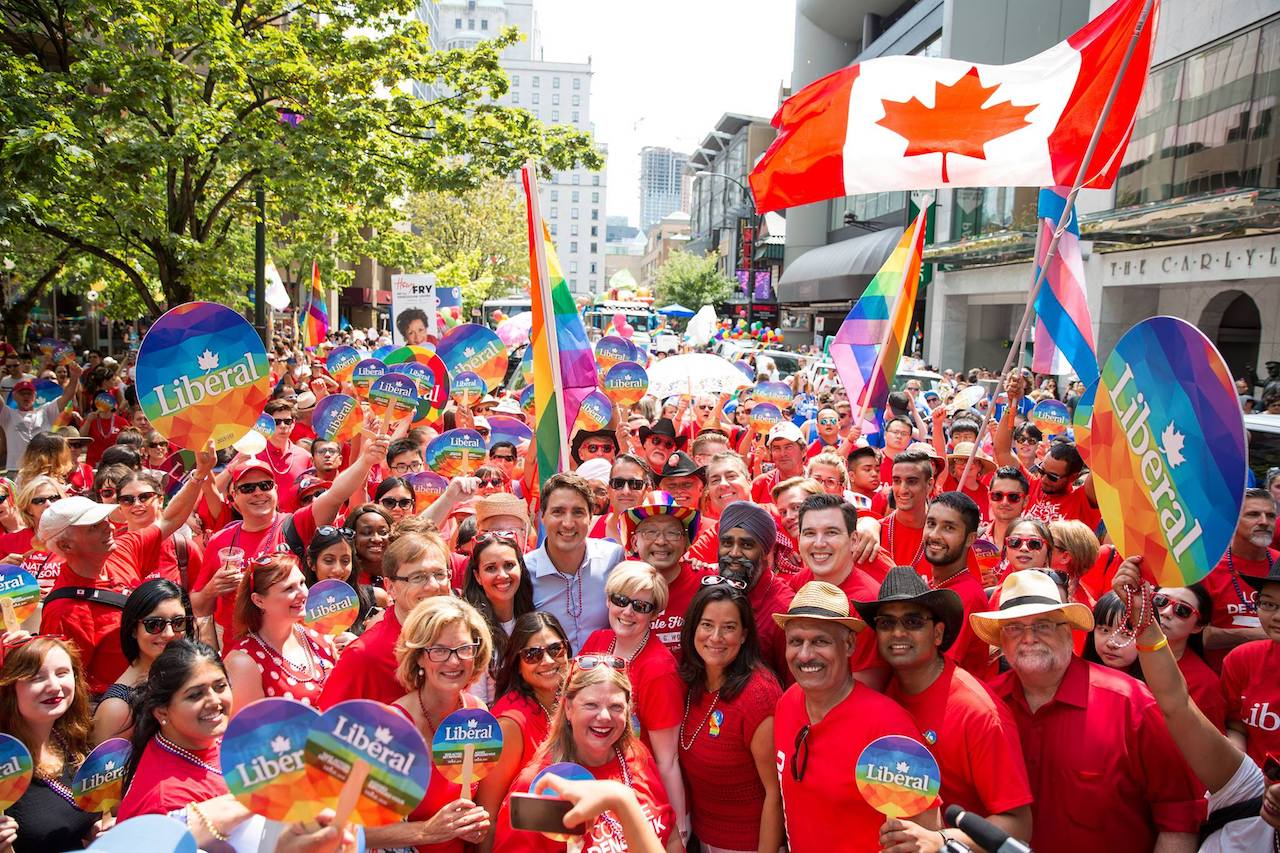 Canadian Prime Minister Justin Trudeau in the middle of a crowd during Vancouver Pride.