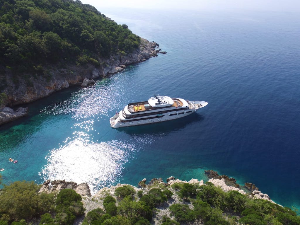 A bird's-eye view of Out Adventures gay cruise ship docked on the Adriatic Sea.