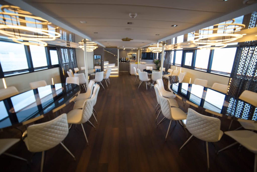 A preview of the spacious Dining Room aboard Out Adventures' Croatia Gay Cruise.