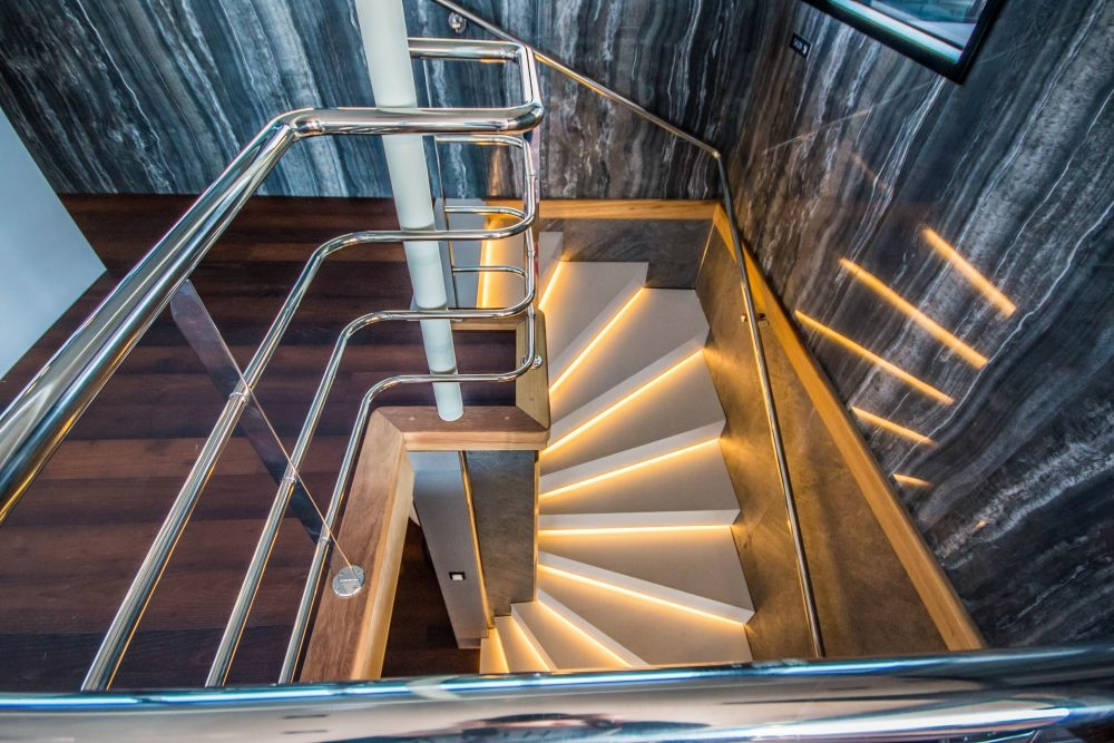 A preview of the sleek staircase aboard The Black Swan.