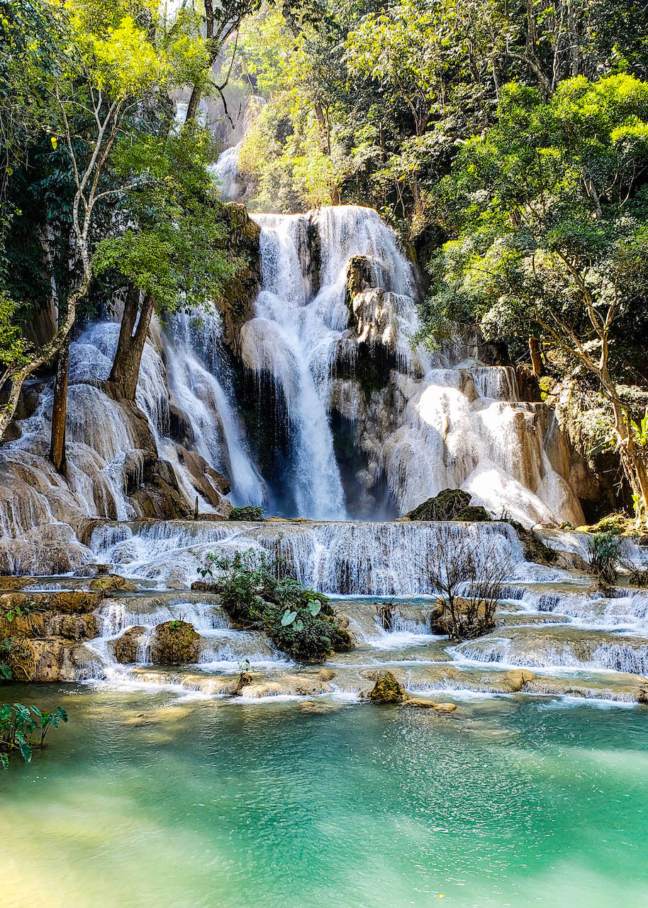 The cascading sapphire falls of Kuang Si, Laos.