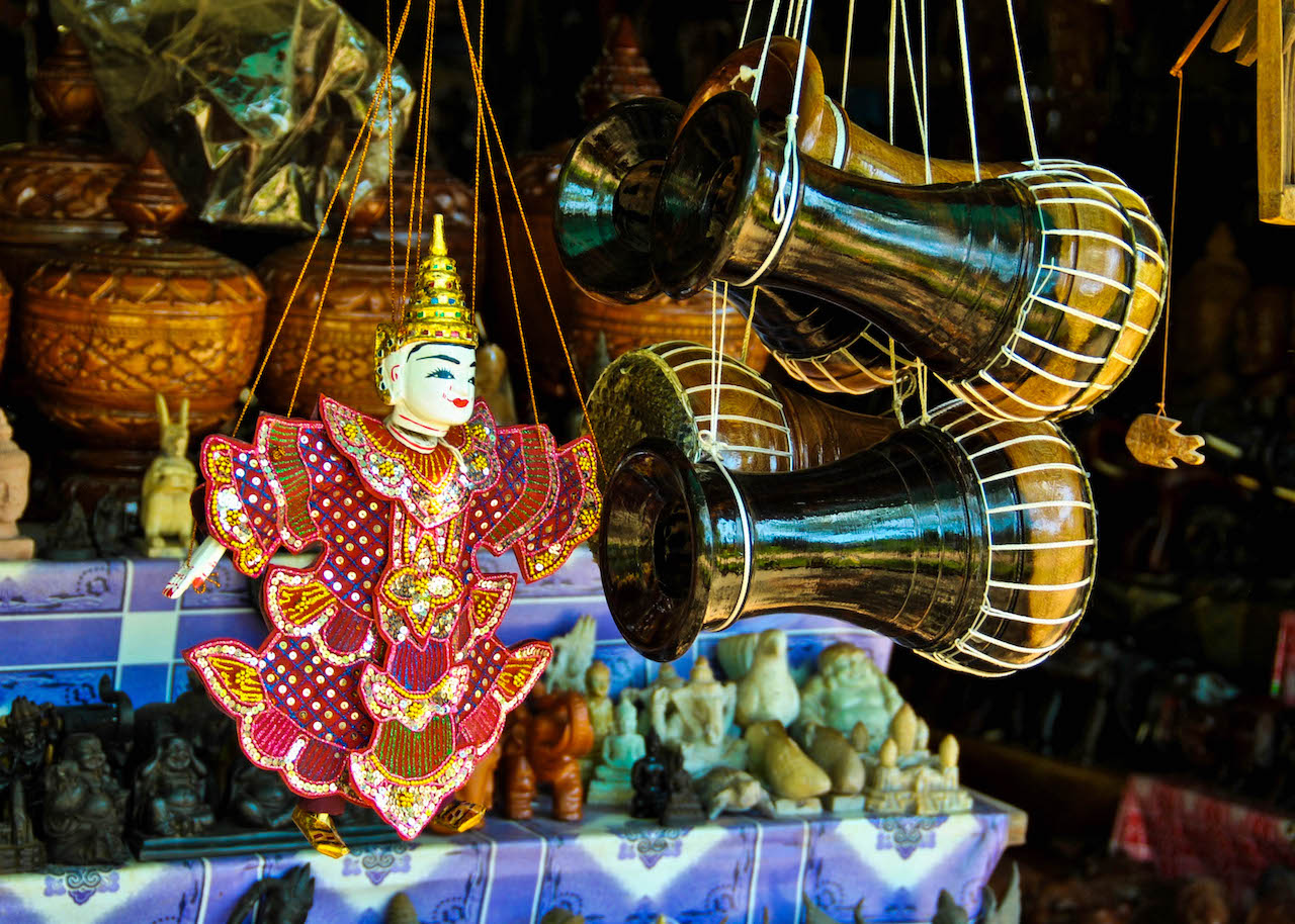 Puppets and knick-knacks for sale in Cambodia.