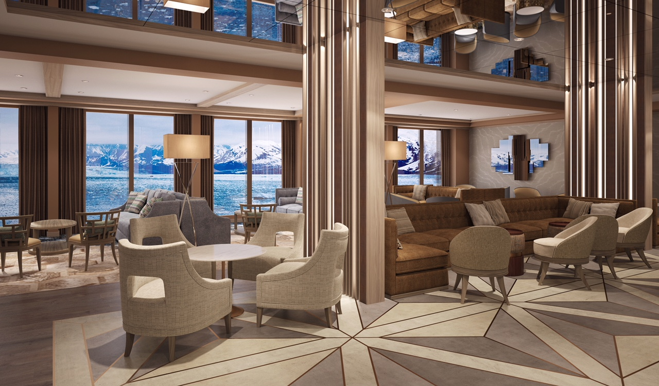 A snap of The World Explorer's swanky Explorer Lounge.