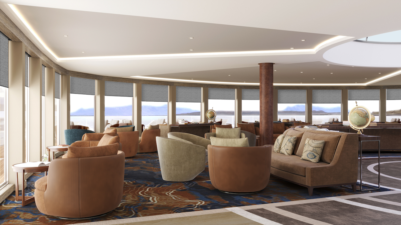 The comfortable Observation Lounge aboard The World Explorer.
