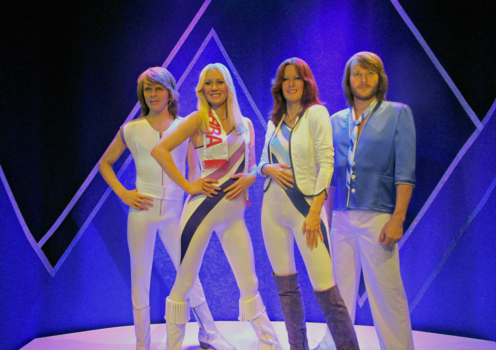 Four wax models replicating the members of Abba in disco-fantasy-realness on display in Stockholm.
