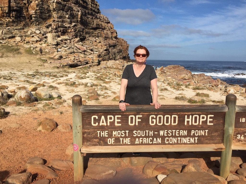 Tanya Churchmuch at the Cape of Good Hope in South Africa.