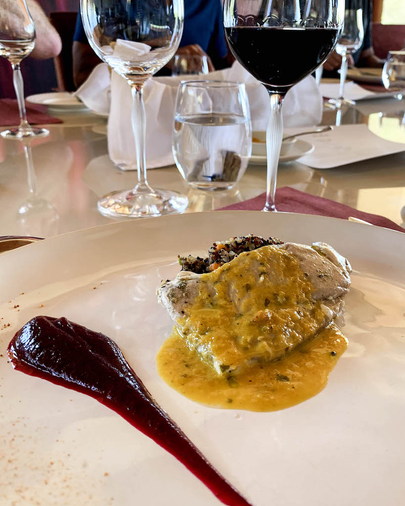A beautifully plated dish at a winery in Colchagua Valley.