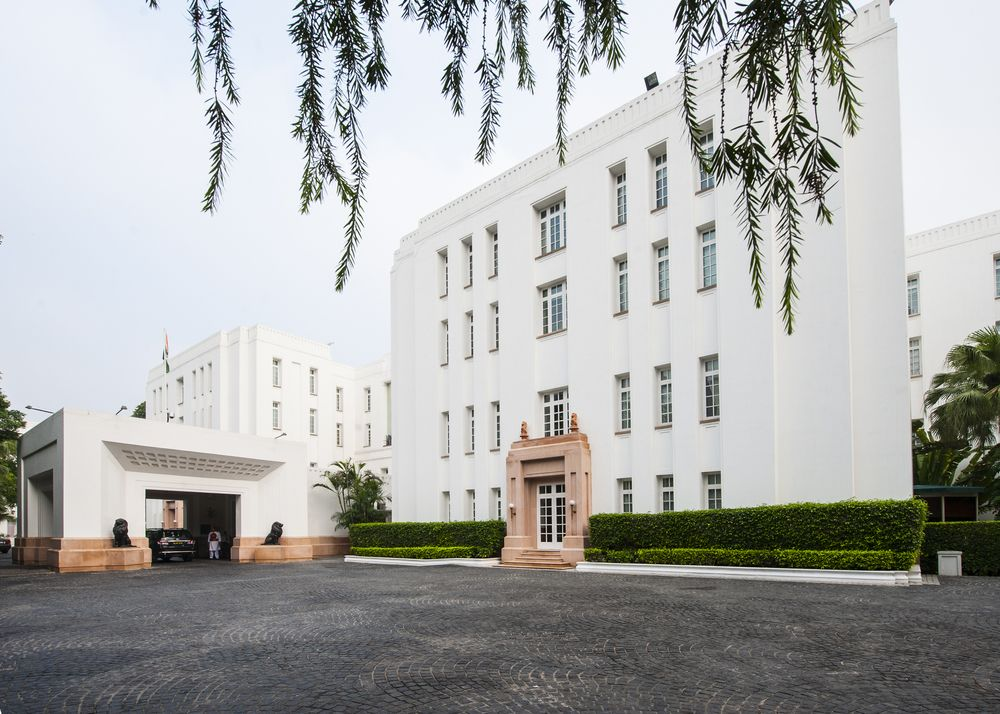 An exterior view of the beautifule, white Imperial Hotel in New Delhi.