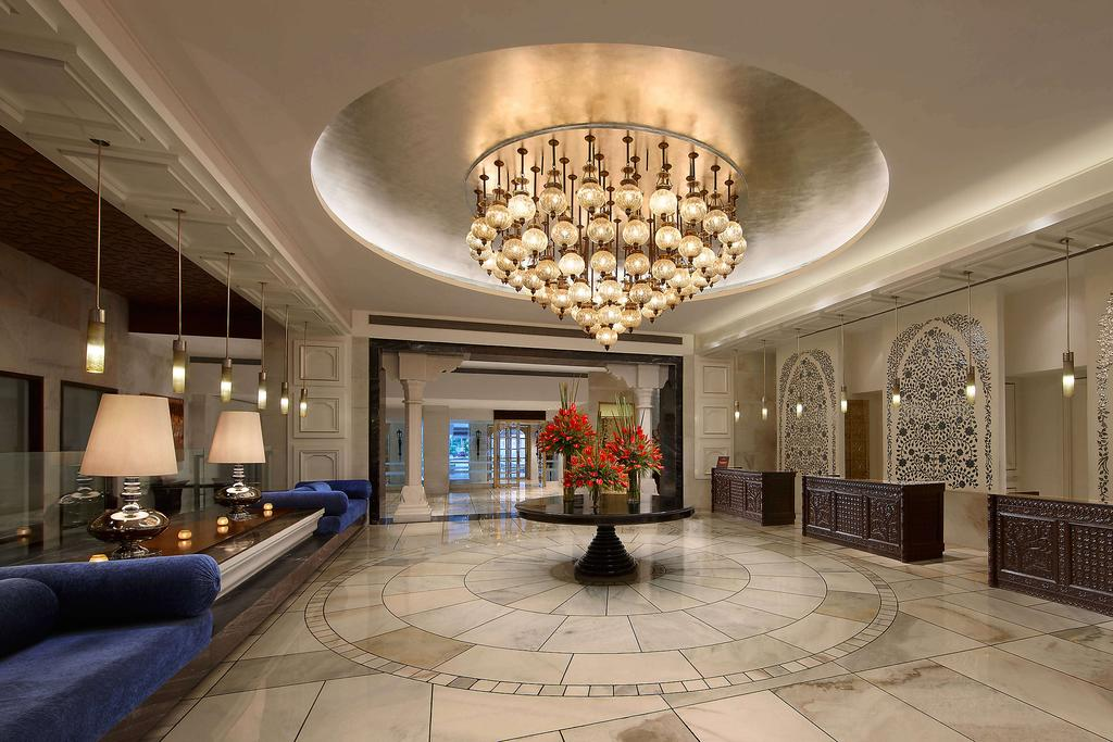 The grand foyer at the ITC Mughal Hotel in Agra.