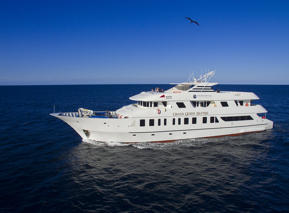 A wide shot of the superluxe yacht featured on Out Adventures' Galapagos Gay Cruise.