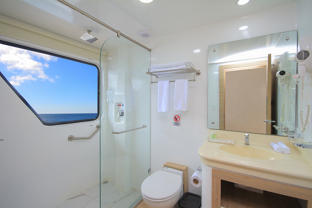 A preview of the ensuite bathrooms in each cabin.