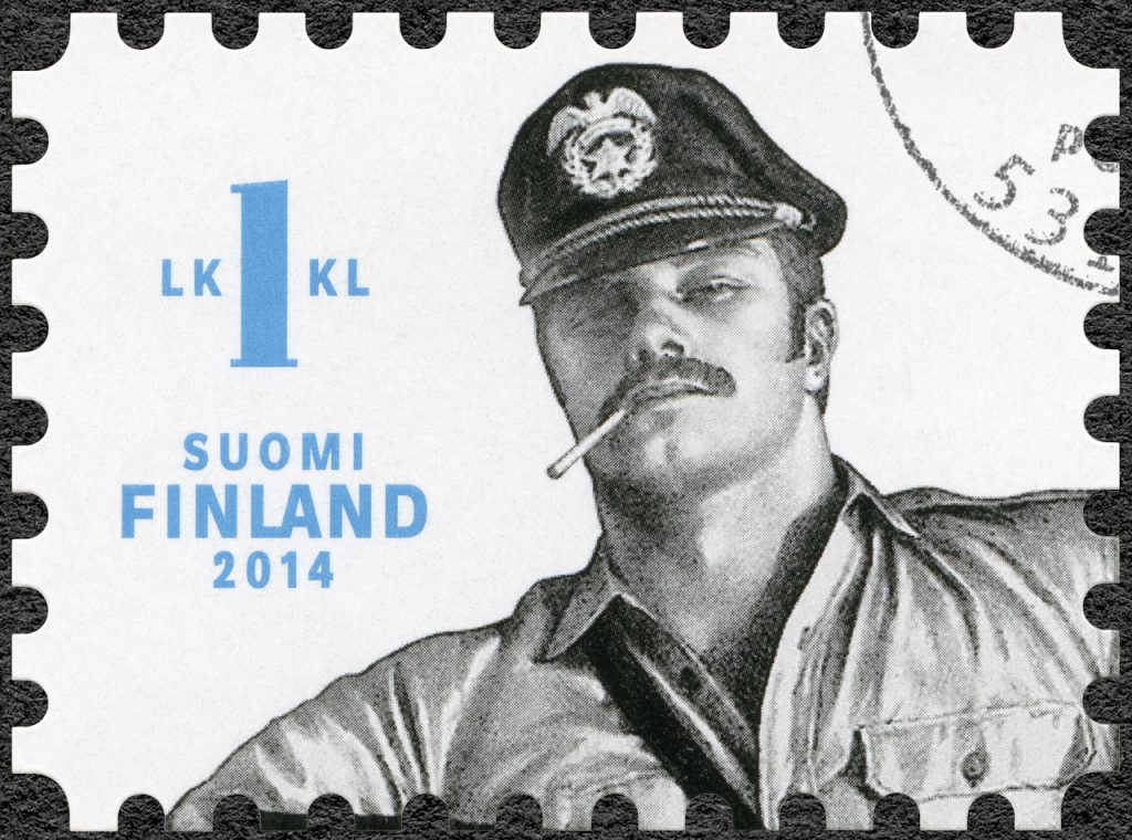 The official Finnish Tom of Finland stamp featuring a military clad hunk smoking a cigarette.