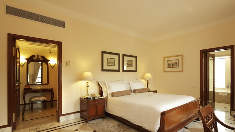 An example of the simplistic beauty of a double room at The Imperial Hotel in New Delhi.