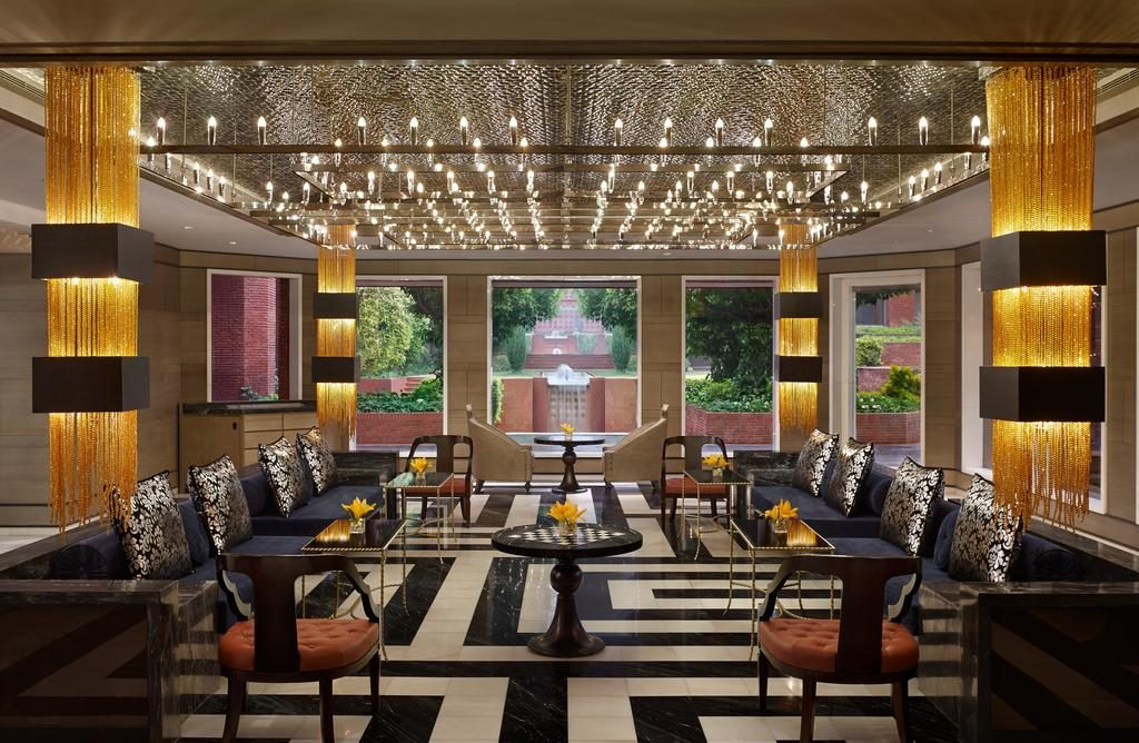 The boldly designed common lounge at ITC Mughal Hotel in Agra.