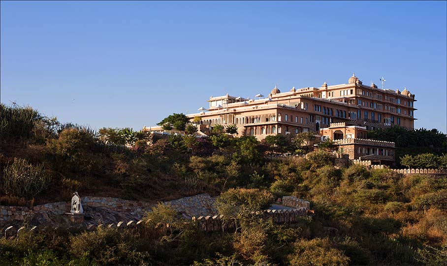 The exterior of Hotel Fateh Garh in Udaipur, India.