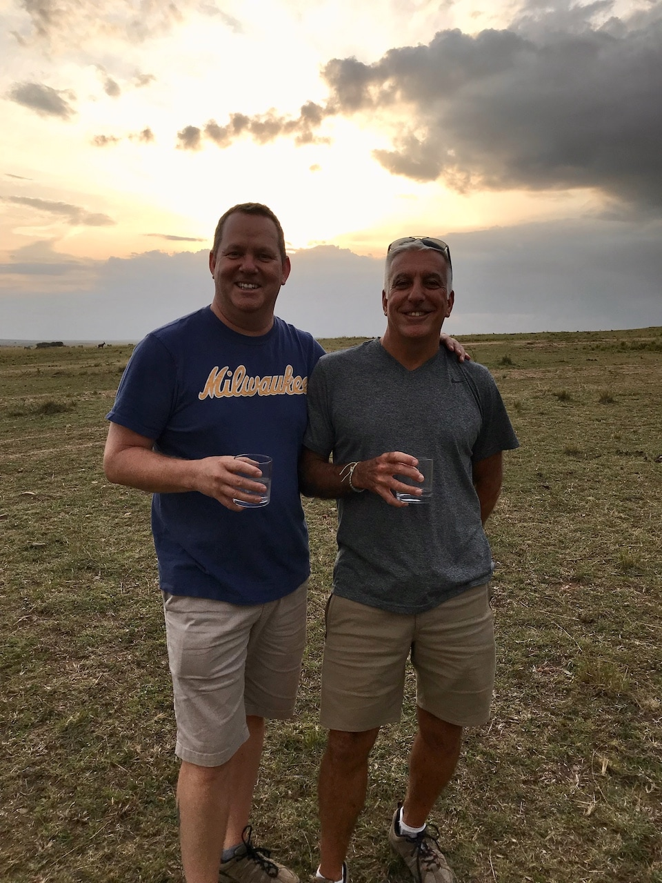 Two gay men on vacation in Kenya.