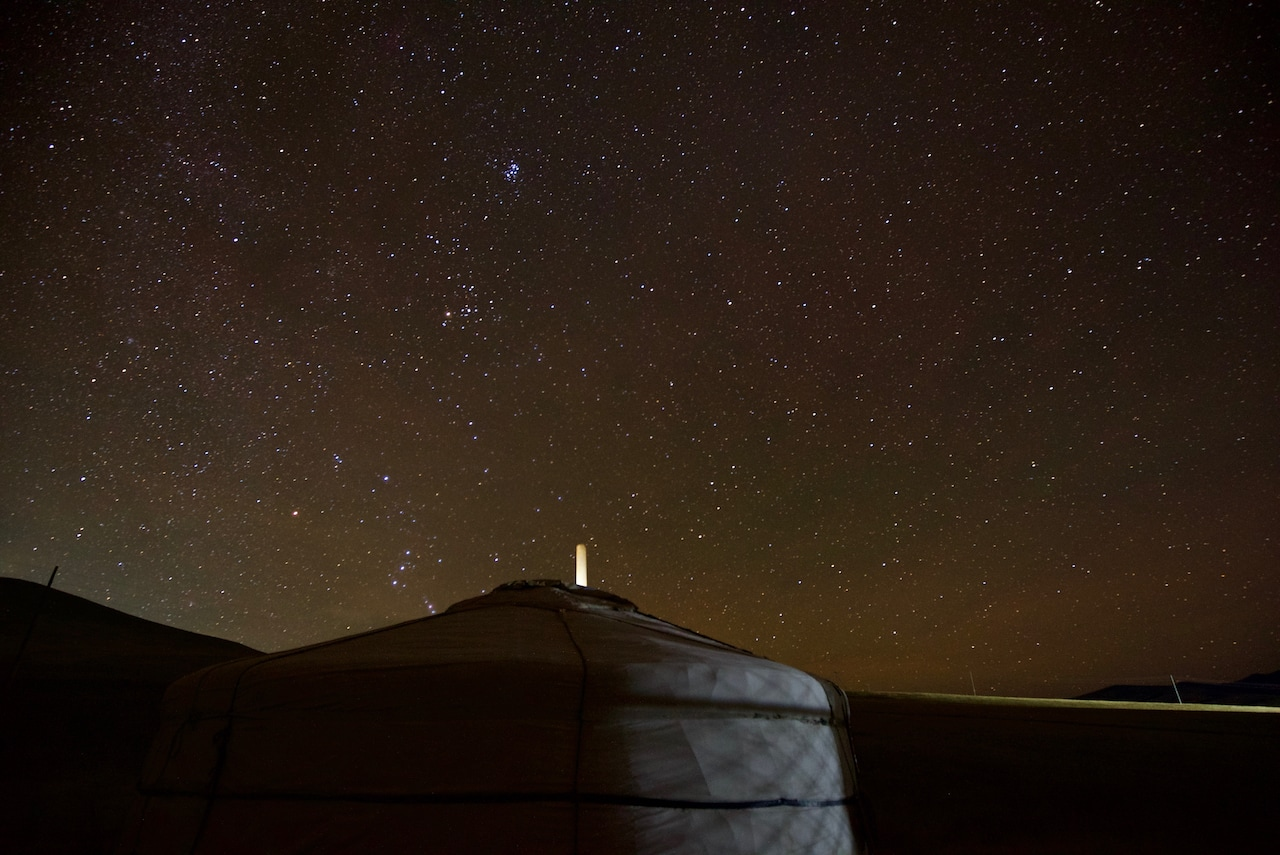 Starry ger camp in Mongolia.