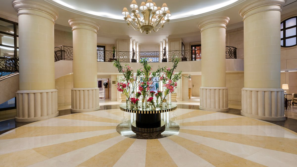 The beautiful, floral lobby inside the Kempinski Hotel in Cairo.