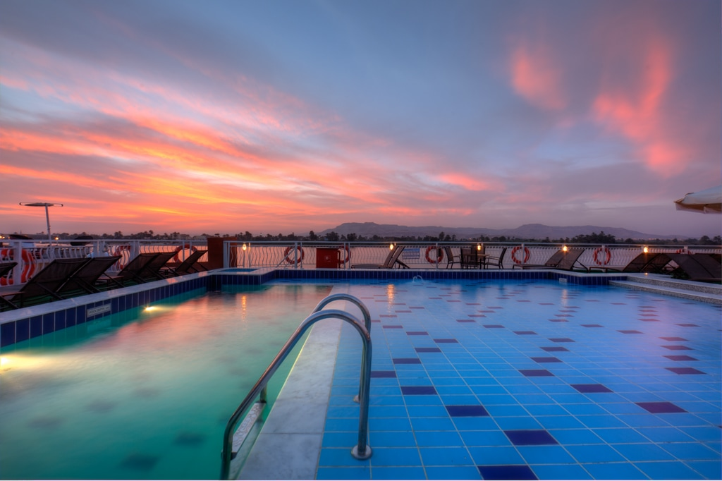 Gorgeous evening photo of the Steinberger Legacy's top deck pool.