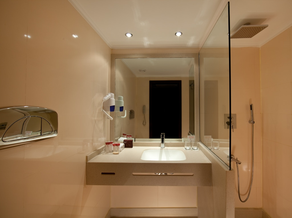 An example of a standard room bathroom aboard the Steinberger Legacy.