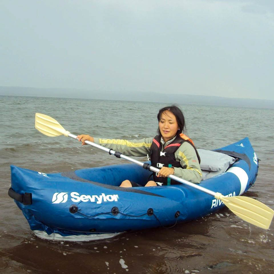 A woman kayaking in Mongolia.