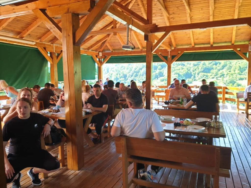 The common dining room at Blue River Lodge in Tara, Montenegro.