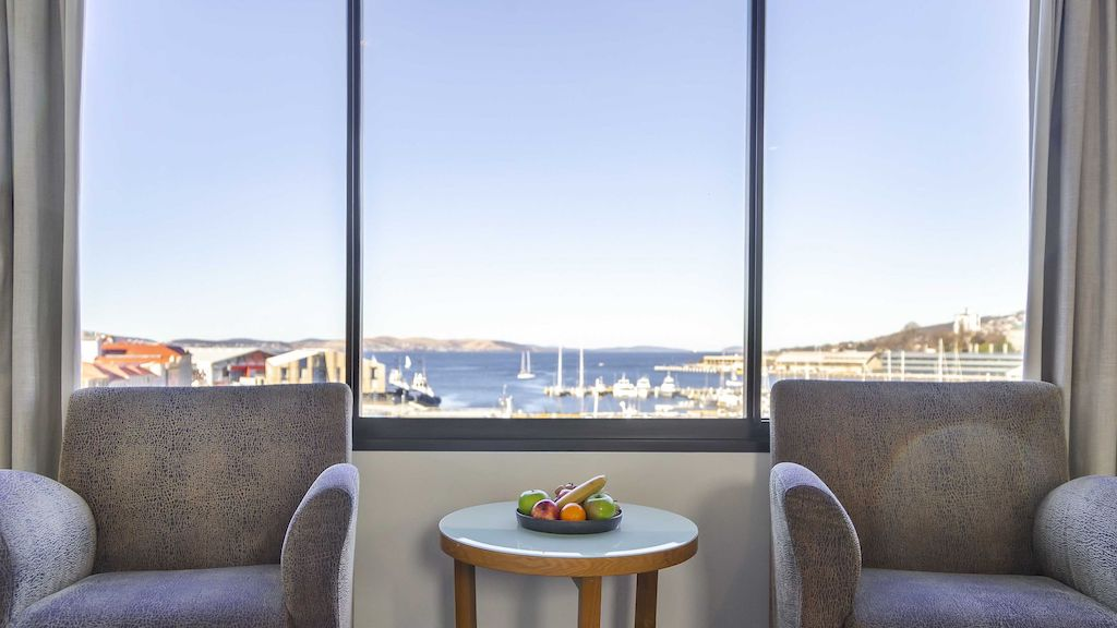 A photo of the standard Harbour view at Hotel Grand Chancellor in Hobart.
