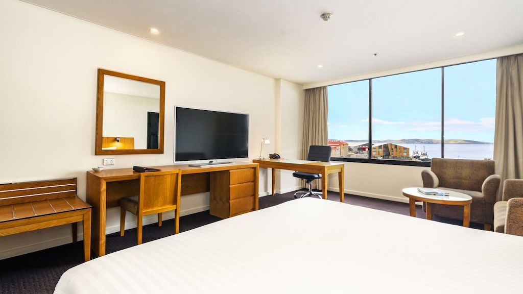 A standard harbour view room at Hotel Grand Chancellor in Hobart.