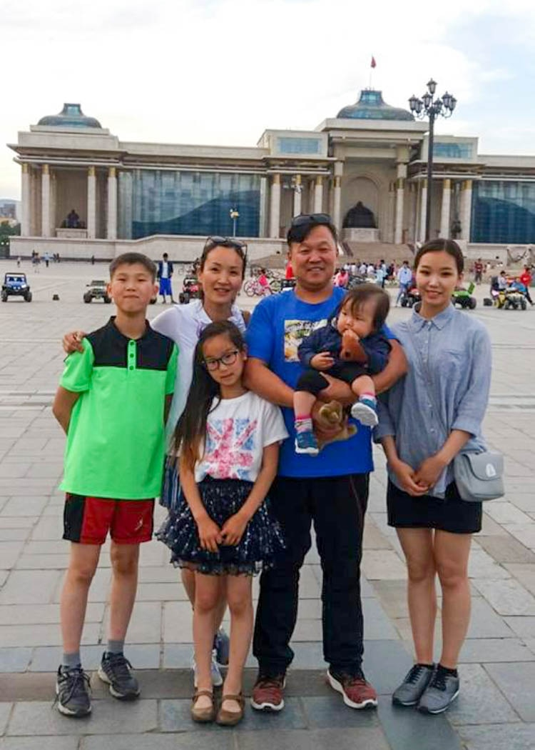 Tuul and her family in Ulaanbaatar.