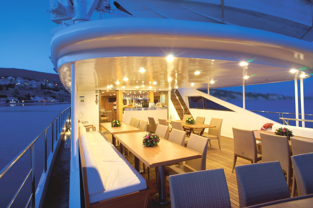 The sun deck converted for dinner service aboard the Harmony G.