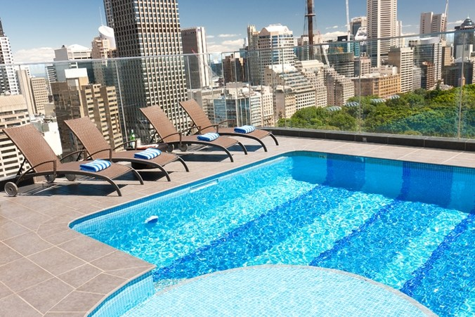The pool at Pullman Sydney Hyde Park as featured on Out Adventures' gay Australia tour.