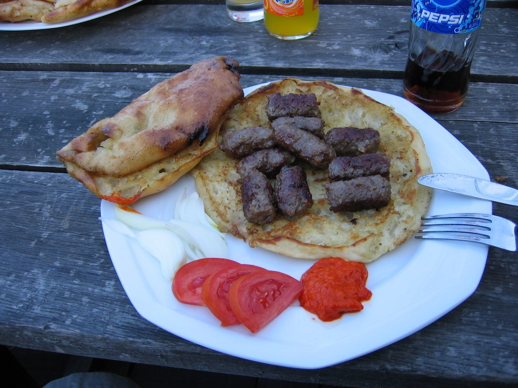 Cevapcici is served with pita bread in Croatia.