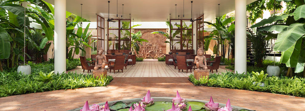 The garden entrance at FCC Angkor by AVANI in Siem Reap.