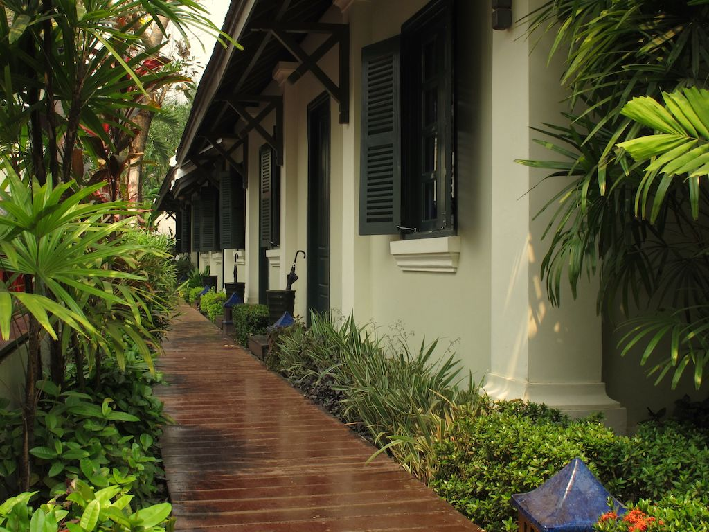 The gardens outside the rooms at Villa Maly in Luang Prabang.