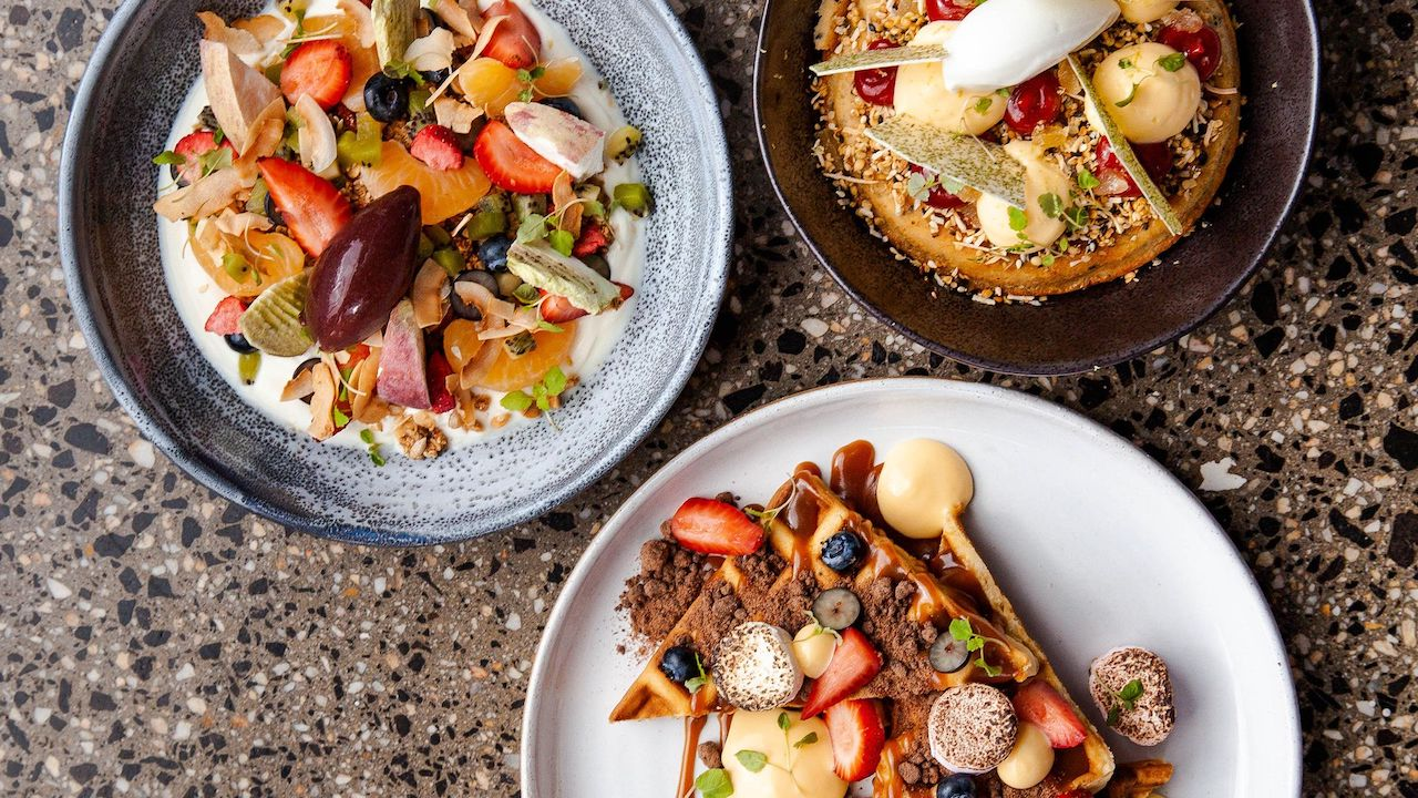 An aerial photo of three beautiful breakfast dishes at 1851 Coffee + Kitchen.