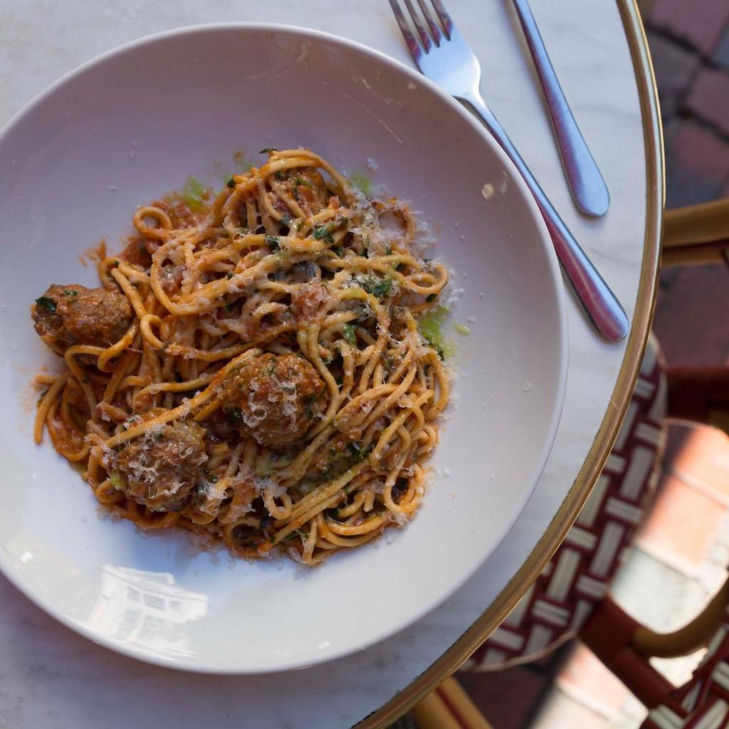 Kirk's Wine Bar's spaghetti and lamb meatballs.