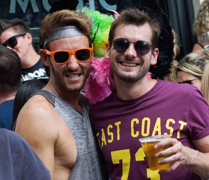 Out Adventures' marketing manager (right) in big gay Melbourne for Midsomma Festival.