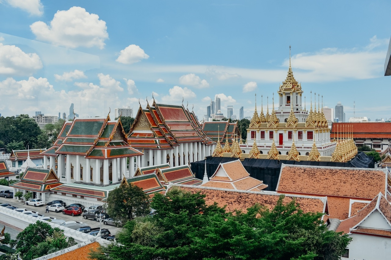 A wide shot of The Grand Palace in Bangkok.