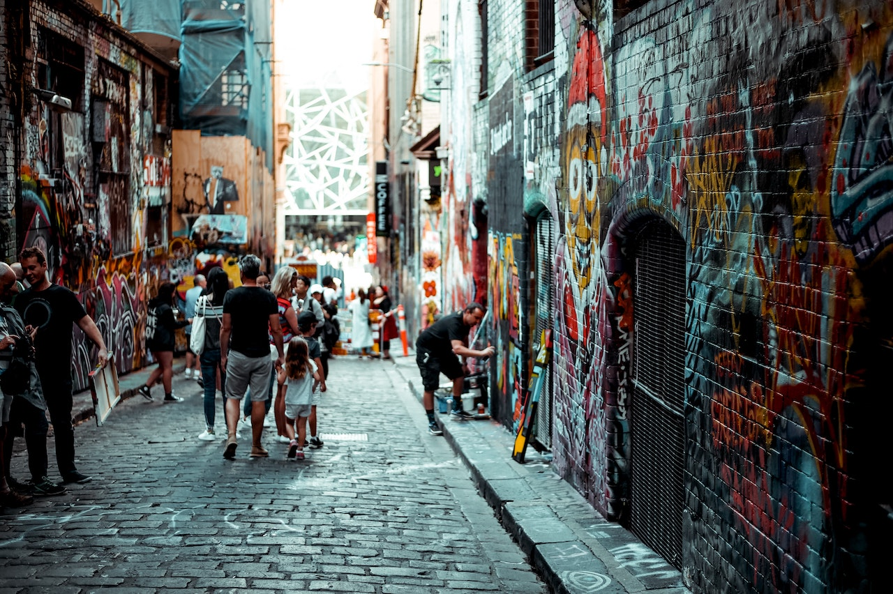 A graffitied alley in Melbourne.