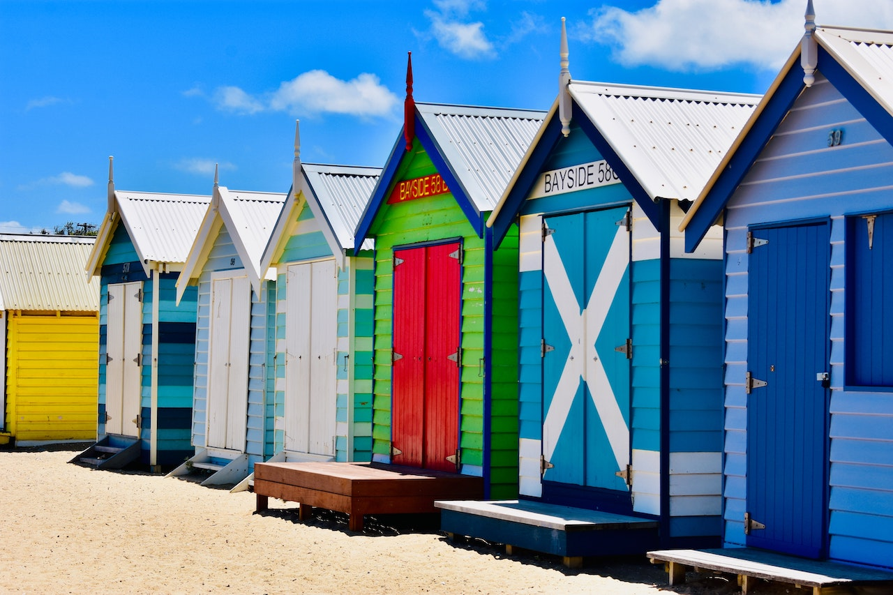 The colourful beach sheds lining Brighton Beach in Melbourne.
