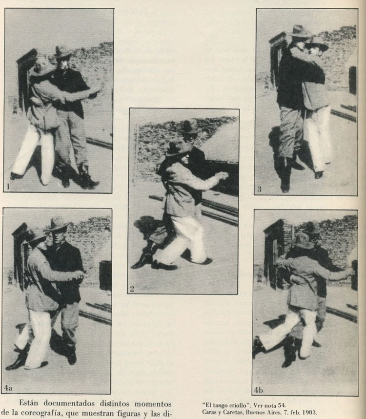 The first published photos of tango. They feature two men dancing together.