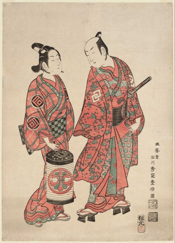Woodcut by Ishikawa Toyonobu, with actors portraying a young Wakashū and his older partner.