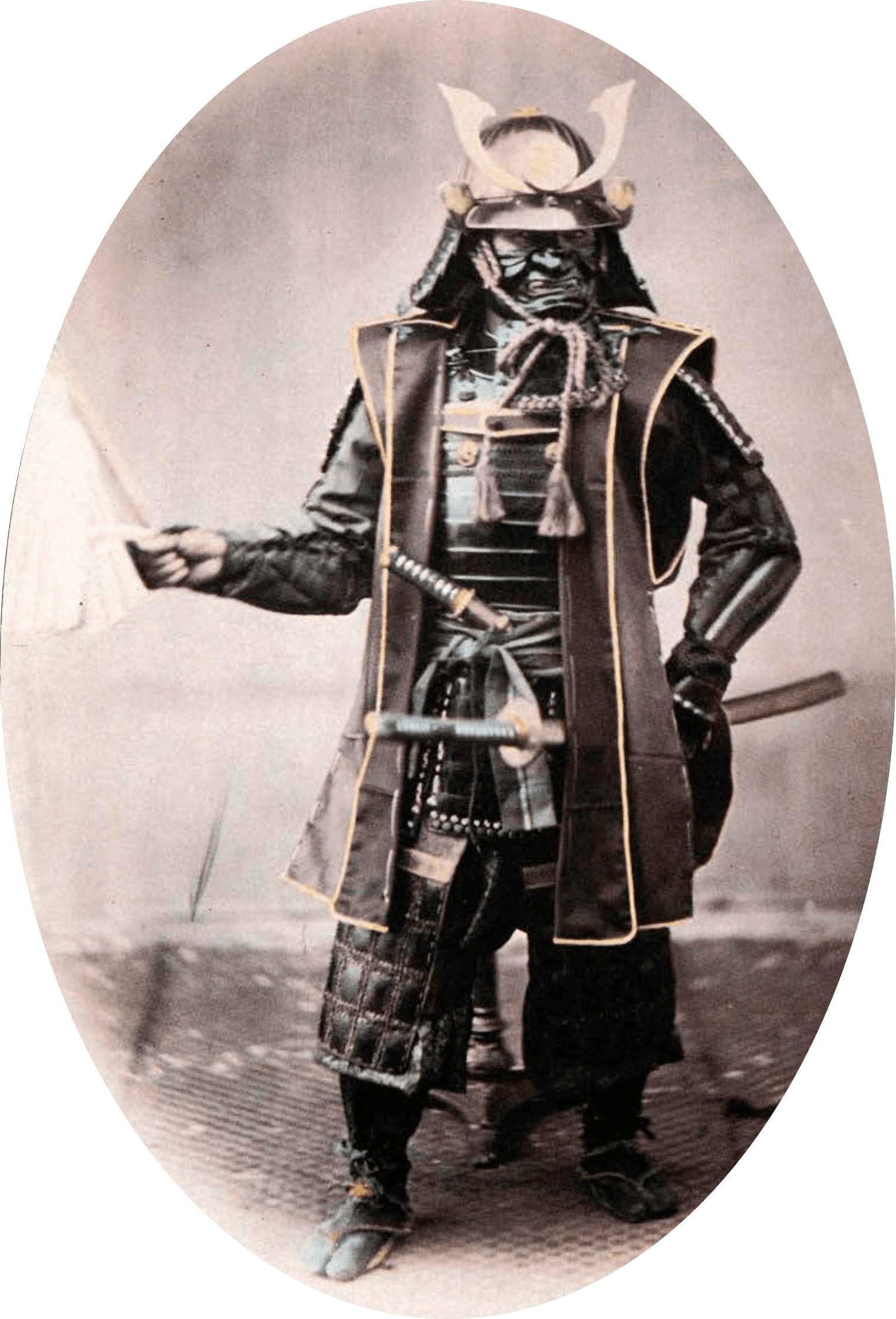 Samurai in traditional armour, ca 1860.