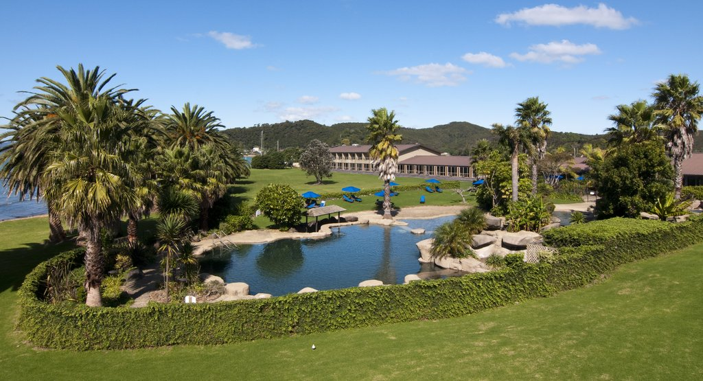 The gardens at Copthorne Paihia Hotel in the Bay of Islands New Zealand.