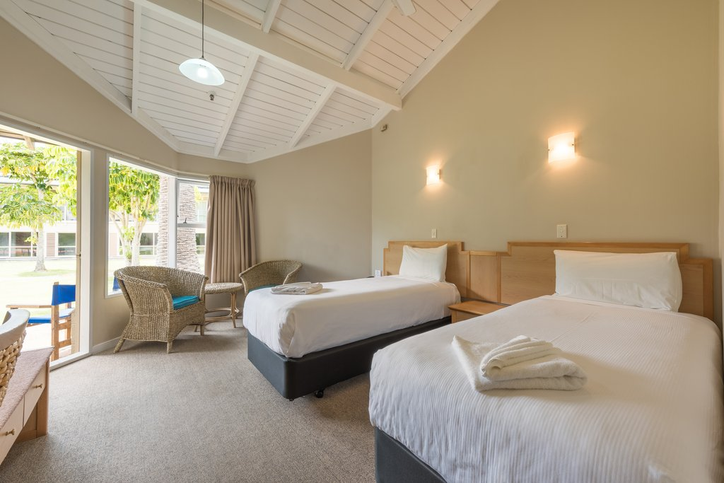 Simple rooms at Copthorne Paihia Hotel in the Bay of Islands New Zealand.