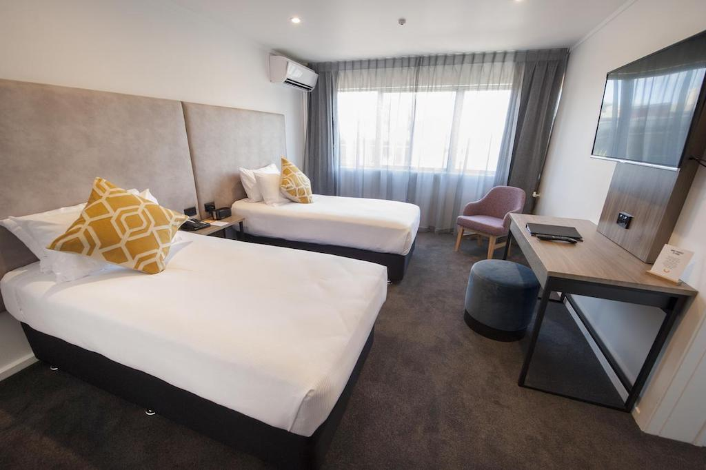 The rooms at The Sudima Rotorua are pared back, but offer a warm welcome.